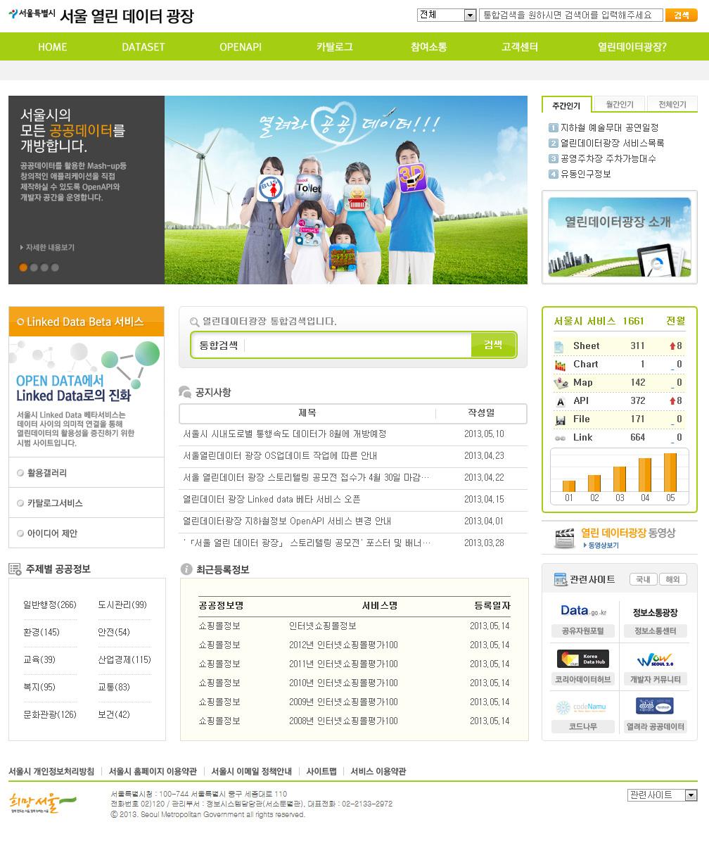 서울 열린 데이터 광장 웹사이트