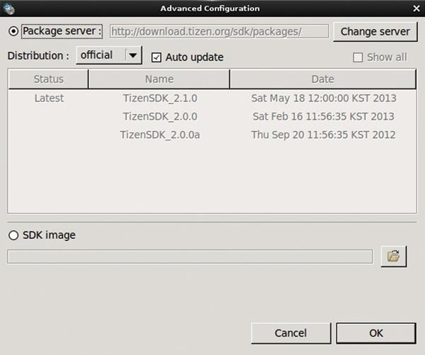 타이젠 SDK 설치 관리자 - 패키지 서버 및 SDK 이미지 선택 화면