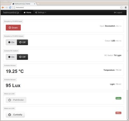 Heimcontrol의 웹 인터페이스