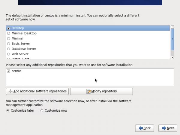 CentOS 설치 과정 중, 서버에 맞는 패키지 선택 창