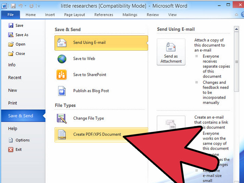 Convert a Microsoft Word Document to PDF Format Step 3 이미지
