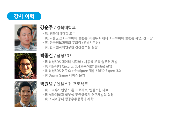 강순주 교수(경북대학교), 박종건 연구원(삼성SDS), 박원녕 대표(엔젤스윙프로젝트)