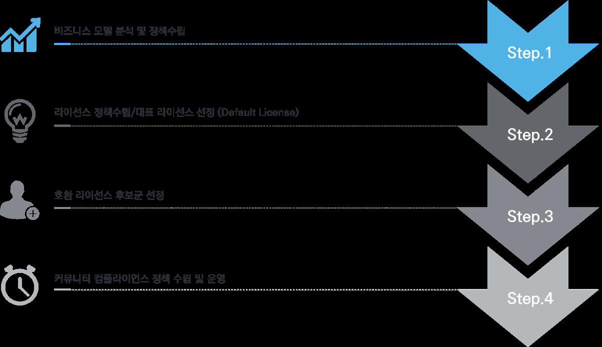 솔루션 및 서비스별 라이선스 정책수립 단계